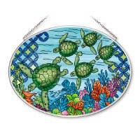 """5"""" x 7"""" Medium Oval Multcolor Green Sea Turtle Bale Glass Suncatcher"""