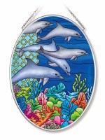 "7"" x 5"" Medium Oval Multicolor Blue Dolphin Pod Glass Suncatcher"