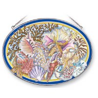 """7"""" x 9"""" Large Oval Multicolor Sea Life Jumble Glass Suncatcher"""