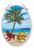 "7"" x 5"" Medium Oval Multicolor Inlet Palm Beach Glass Suncatcher"
