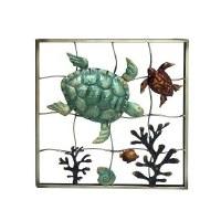 "20"" Square Green and Brown Sea Turtle Seascape Grid Plaque"