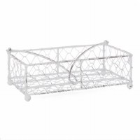 """9"""" Anitque White Wire Guest Towel Holder"""