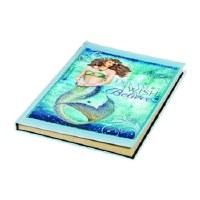"8"" Aqua and Blue Dream, Wish, Believe Mermaid Journal"