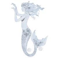 "16"" White Metal Mermaid Plaque"