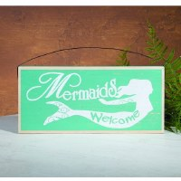 """6"""" x 12"""" Seafoam Green and White Wood Mermaids Welcome Plaque"""