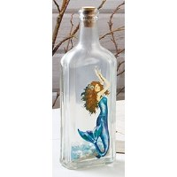 """9"""" x 3"""" Frosted Glass Magical Blue Hands Up Mermaid Bottle"""