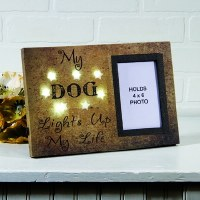 "4"" x 6"" Gold LED Stars My Dog Lights Up My Life Photo Frame"