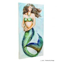 """24"""" x 12"""" Blue and Green Mermaid Holding Conch Shell Slat Wood Plaque"""