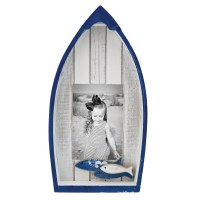 "5"" x 4"" Navy Blue and White Slat Wood Boat Photo Frame"