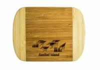 """6"""" x 8"""" Sanibel Island Two Tone Sandpipers Wood Cutting Board"""