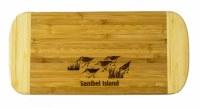 """6"""" x 13"""" Sanibel Island Two Tone Sandpipers Wood Cutting Board"""