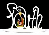 "7"" White ""Faith"" Light Up Nativity"