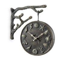 "14"" Verdigris Bronze Metal Hanging Coral Sea Life Thermometer Clock"