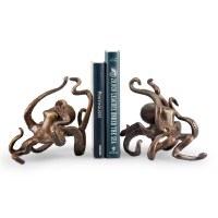 """15"""" Bronze Textured Metal Octopus Bookends"""