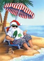 "8"" x 6"" Box of 18 Santa on the Beach Holiday Greeting Cards"