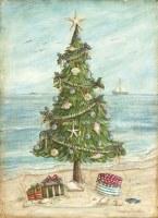 "8"" x 6"" Box of 18 Beach Christmas Tree Holiday Greeting Cards"