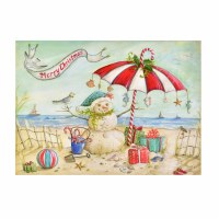 """6"""" x 8"""" Box of 18 Christmas Beach Snowman Holiday Greeting Cards"""
