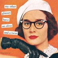 "5"" Orange 'My Other Glasses"" Beverage Napkins"