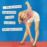 """5"""" Blue 'Yoga Positions' Beverage Napkins"""