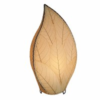 "24"" Natural Cocoa Leaves Leaf Shaped Outdoor Lamp"