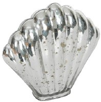 """7"""" Silver Glass Clam Shell"""