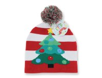 """8"""" Striped LED Christmas Tree Knit Hat"""