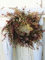 """6.5"""" Faux Eucalyptus and Berry Candle Ring or Wreath"""