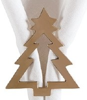 "2"" Gold Brass Christmas Tree Napkin Ring"