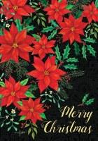 """40"""" x 28"""" Large Cloth Christmas Poinsettia Merry Christmas Flag"""