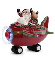 "8"" LED Santa in Airplane"