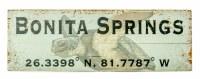 "7"" x 20"" Green Bonita Springs Sea Turtle Wood Wall Plaque with Latitude Coordinates"