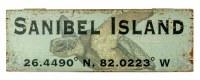 "7"" x 20"" Green Sanibel Island Sea Turtle Wood Wall Plaque with Latitude Coordinates"