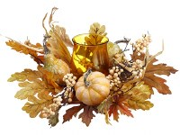 """16"""" Faux Fall Leaf Centerpiece With Amber Hurricane Candleholder"""