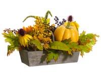 "10"" Faux Sunflower, Berries and Pumpkin Arrangement in Wood Box"