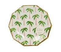 "7"" Round Foil Palm Tree Paper Dessert Plates"
