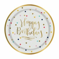 "7"" Round Foil Happy Birthday With Confetti Paper Dessert Plates"