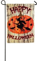 """18"""" x 12"""" Mini Cloth Happy Halloween with Witch on Broom Flag"""