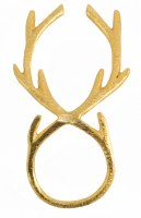 "5"" Gold Brass Reindeer Antler Napkin Ring"