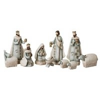 "7.5"" 10 Piece Polyresin Blue and Ivory Nativity Scene"