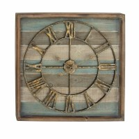 """30"""" Brown and Light Blue Striped Wood Wall Clock With Rustic Metal Face"""