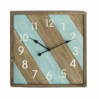 """24"""" Brown and Light Blue Diagonally Striped Wood Wall Clock"""