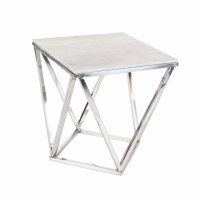 "18"" Square Contemporary Silver Marble Accent Table"