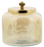 """5"""" Amber Glass Jar With Gold Lid"""