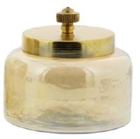 """4"""" Amber Glass Jar With Gold Lid"""