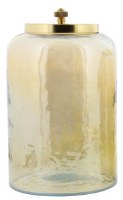 """10"""" Amber Glass Jar With Gold Metal Lid"""