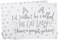 """21"""" x 28"""" Gray and White I'd Rather Be Called The Cat Lady Cotton Pillow Case"""