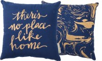 """12"""" Square Blue and Gold There's No Place Like Home Pillow"""