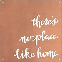 """10"""" Square There's No Place Like Home Metal Wall Plaque"""