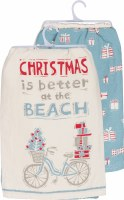 "28"" Square Set of 2 Christmas is Better at the Beach Cotton Kitchen Towel"