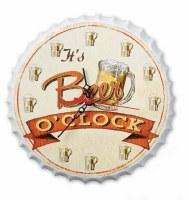 """11"""" It's Beer O'Clock Metal Bottle Cap Shape Hanging Clock"""